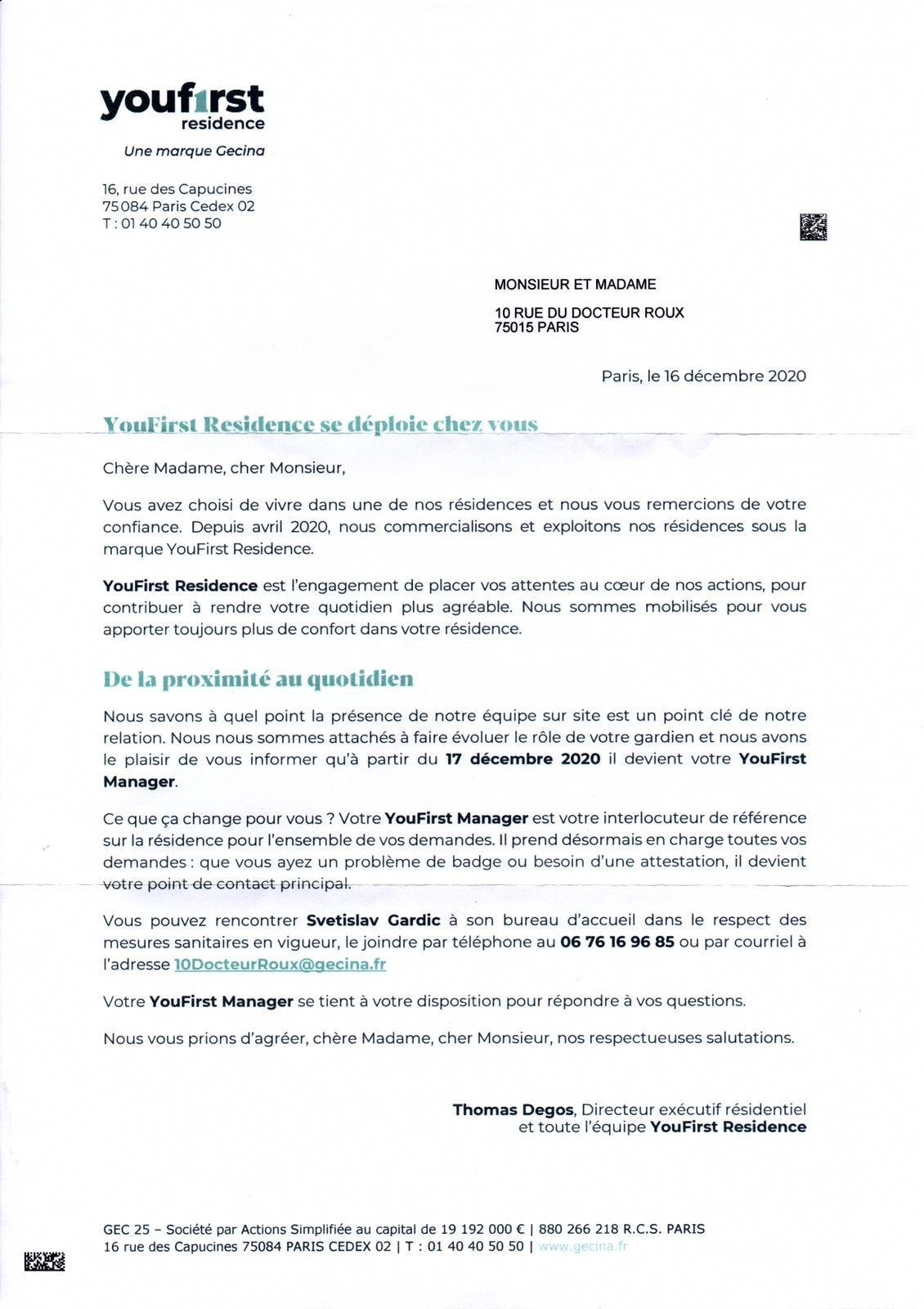 Youfirst lettre decembre 2020